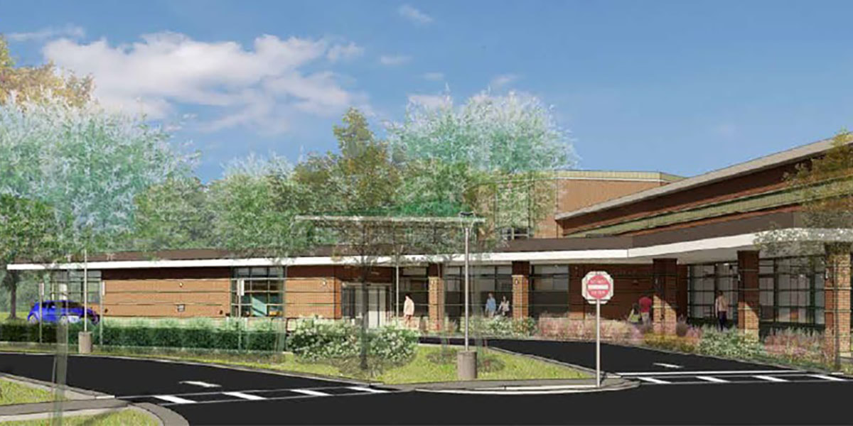 Architect's rendering of the new front of the library.