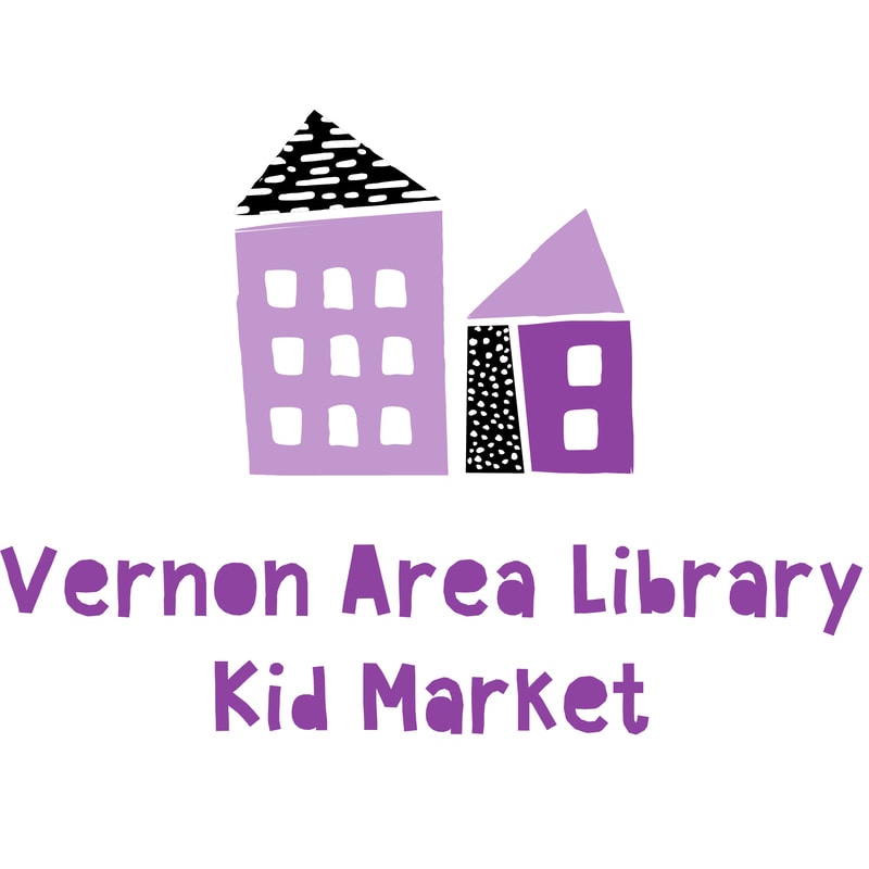 Kid Market logo, a drawing of side-by-side storefronts