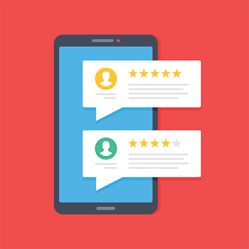 illustration of a smartphone and consumer reviews (star ratings)