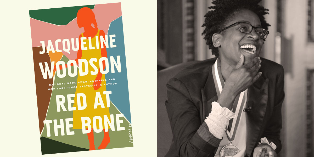 Red at the Bone book cover beside black and white photo of author Jacqueline Woodson, wearing a National Ambassador for Young People's Literature medal
